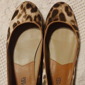 Michael Kors Satin Leopard Flats Satin Size 7.5
